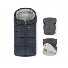 PETITE&MARS Zimní set fusak Jibot 3v1 + rukavice na kočárek Jasie Charcoal Grey