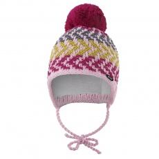 Little Angel-Čepice pletená zavazovací cik cak Outlast ® - růžová Velikost: 3 | 42-44 cm