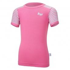 Little Angel-Tričko tenké KR pruh Outlast® - tm.růžová/pruh růžovozelený Velikost: 128