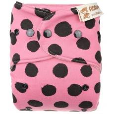 Anavy-Vlněné svrchní kalhotky na patentky Černé puntíky (růžová)