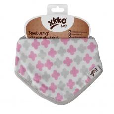 KIKKO-Bambusový slintáček XKKO BMB - Scandinavian Baby Pink Cross