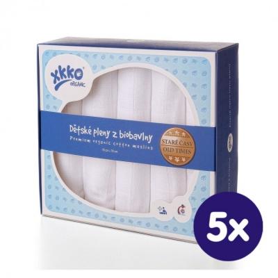 KIKKO-Biobavlněné dětské pleny XKKO Staré časy 70x70-bílá