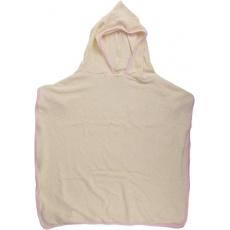 KAARSGAREN-Pončo s kapucí z biobavlny růžový okraj