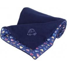 KAARSGAREN-Zateplená dětská deka tmavomodrá autíčko výšivka