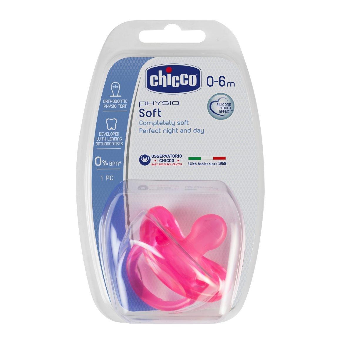 Chicco Šidítko Physio Soft celosilikónové, 0-6m+, růžové