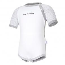 Little Angel-Body tenké KR LA Outlast® - bílá/šedý melír Velikost: 62