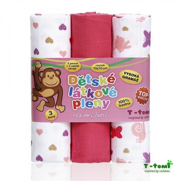 T-Tomi-Látkové TETRA pleny, růžoví šneci - TOP KVALITA
