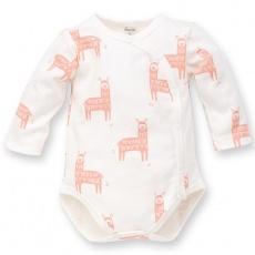 PINOKIO Body zavinovací dlouhý rukáv Happy Llama vel. 62 écru, vzor