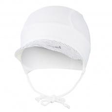 Little Angel-Kšiltovka tenká zavazovací Outlast® - bílá/pruh bílošedý melír Velikost: 3 | 42-44 cm