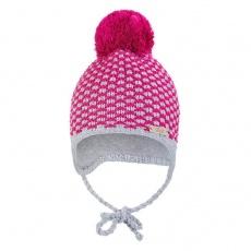 Little Angel-Čepice pletená zavazovací kostička s bambulí Outlast ® - růžová Velikost: 5 | 49-53 cm