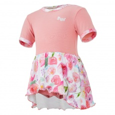 Little Angel-Body šaty tenké KR set Outlast® - tm.losos/kytky na bílé Velikost: 80