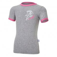 Little Angel-Tričko tenké KR obrázek Outlast® - šedý melír/růžová Velikost: 86