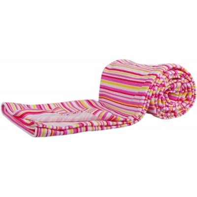 KAARSGAREN-Bavlněná letní deka růžové proužky