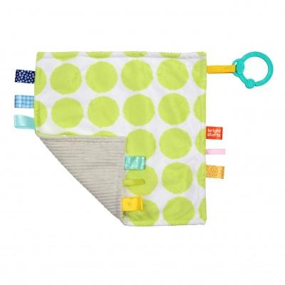 Bright Starts Dečka mazlící na C kroužku Little Taggies zelené tečky 0m+
