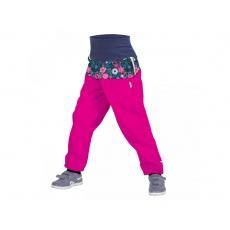 UNUO-Batolecí softshellové kalhoty s fleecem KVĚTINKY FUCHSIOVÉ