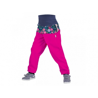 UNUO-Batolecí softshellové kalhoty s fleecem KVĚTINKY FUCHSIOVÉ-VÝPRODEJ