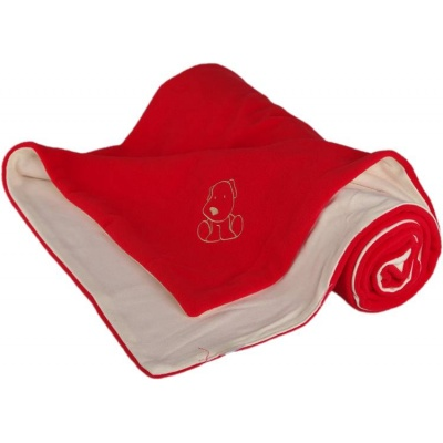 KAARSGAREN-Dětská deka červeno smetanová s pejskem fleece bavlna