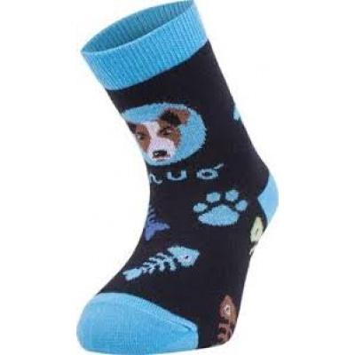 UNUO-Bambusové ponožky pes tyrkysové