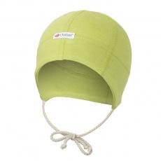 Little Angel-Čepice smyk zavazovací plochý šev Outlast® - zelená Velikost: 4   45-48 cm