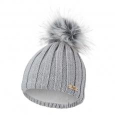 Little Angel-Čepice pletená žebro Outlast ® - sv.šedá Velikost: 2 | 39-41 cm