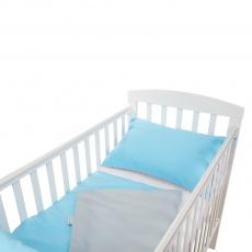 Little Angel-Povlečení - modrá puntík šedý/šedá puntík modrý