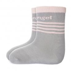 Little Angel-Ponožky tenké protiskluz Outlast® - tm.šedá/sv.růžová Velikost: 15-19 | 10-13 cm