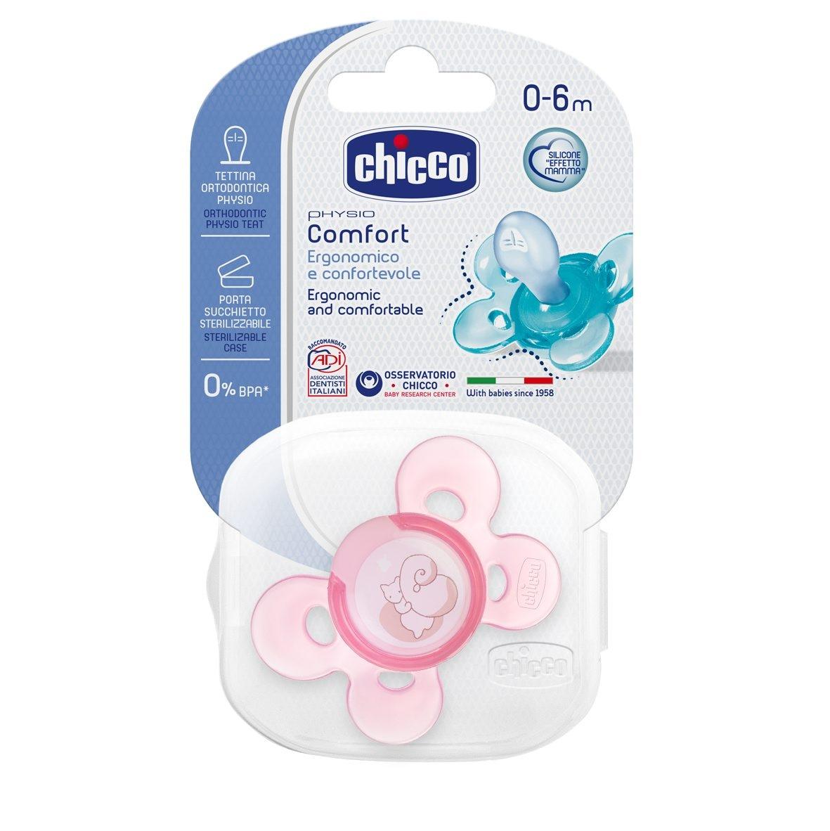 Chicco Šidítko Physio Comfort, silikonové, 0-6m, růžové, 1ks