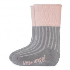 Little Angel-Ponožky froté Outlast® - tm.šedá/sv.růžová Velikost: 15-19 | 10-13 cm