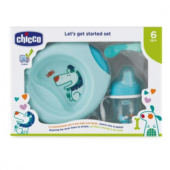 CHICCO Jídelní set - talíř, lžička, hrnek, 6m+ - modrý