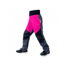 Unuo - Dětské softshellové kalhoty s fleecem pružné Flexi, Tm. Šedá, Fuchsiová