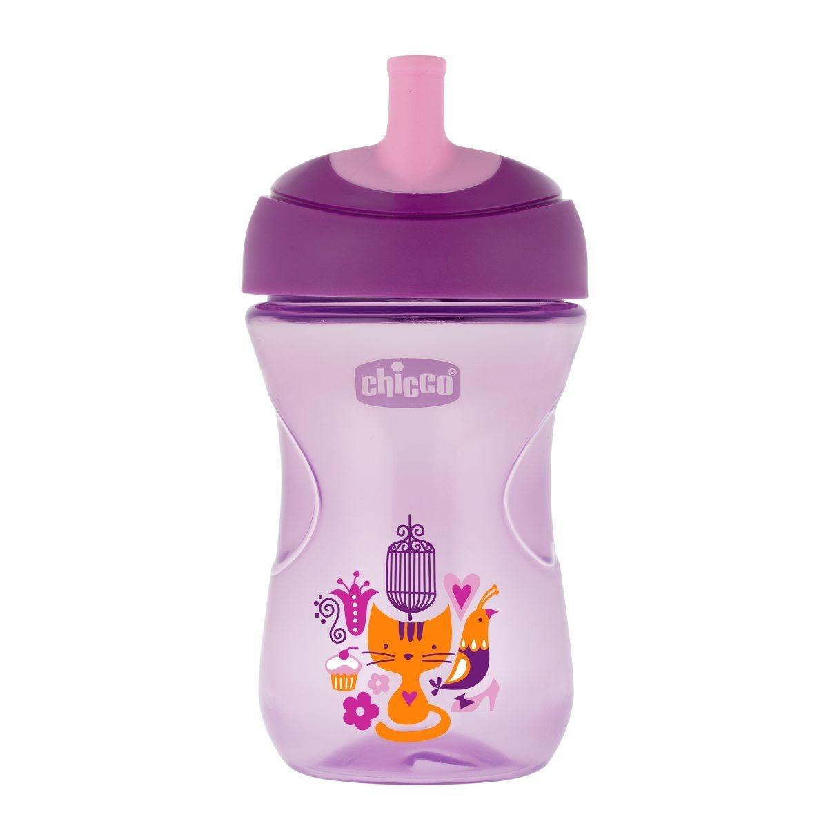 Chicco Hrneček Chicco Pokročilý s brčkem 266 ml, fialový 12m+