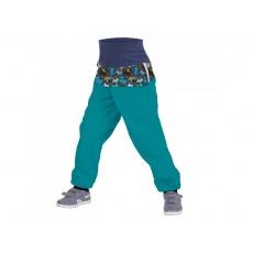UNUO-Batolecí softshellové kalhoty s fleecem FLEECEM, SMARAGDOVÁ, PEJSCI + REFLEXNÍ OBRÁZEK EVŽEN