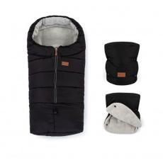 PETITE&MARS Zimní set fusak Jibot 3v1 + rukavice na kočárek Jasie Ink Black
