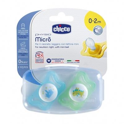 Chicco Šidítko Physio Micro, silikonové, 0-2M +, modrá, 2ks