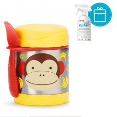 SKIP HOP Zoo Termoska na jídlo se lžičko/vidličkou Opička 325 ml, 12 m+ + AQUAINT 500 ml
