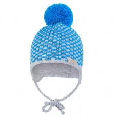 Little Angel-Čepice pletená zavazovací kostička s bambulí Outlast ® - modrá Velikost: 3 | 42-44 cm