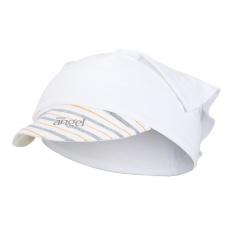 Little Angel-Šátek tenký kšilt Outlast® - bílá/pruh bíložlutošedý Velikost: 6, 54-57 cm