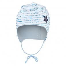 Little Angel-Čepice podšitá zavazovací Outlast® - modrý proužek/sv.modrá Velikost: 1   36-38 cm