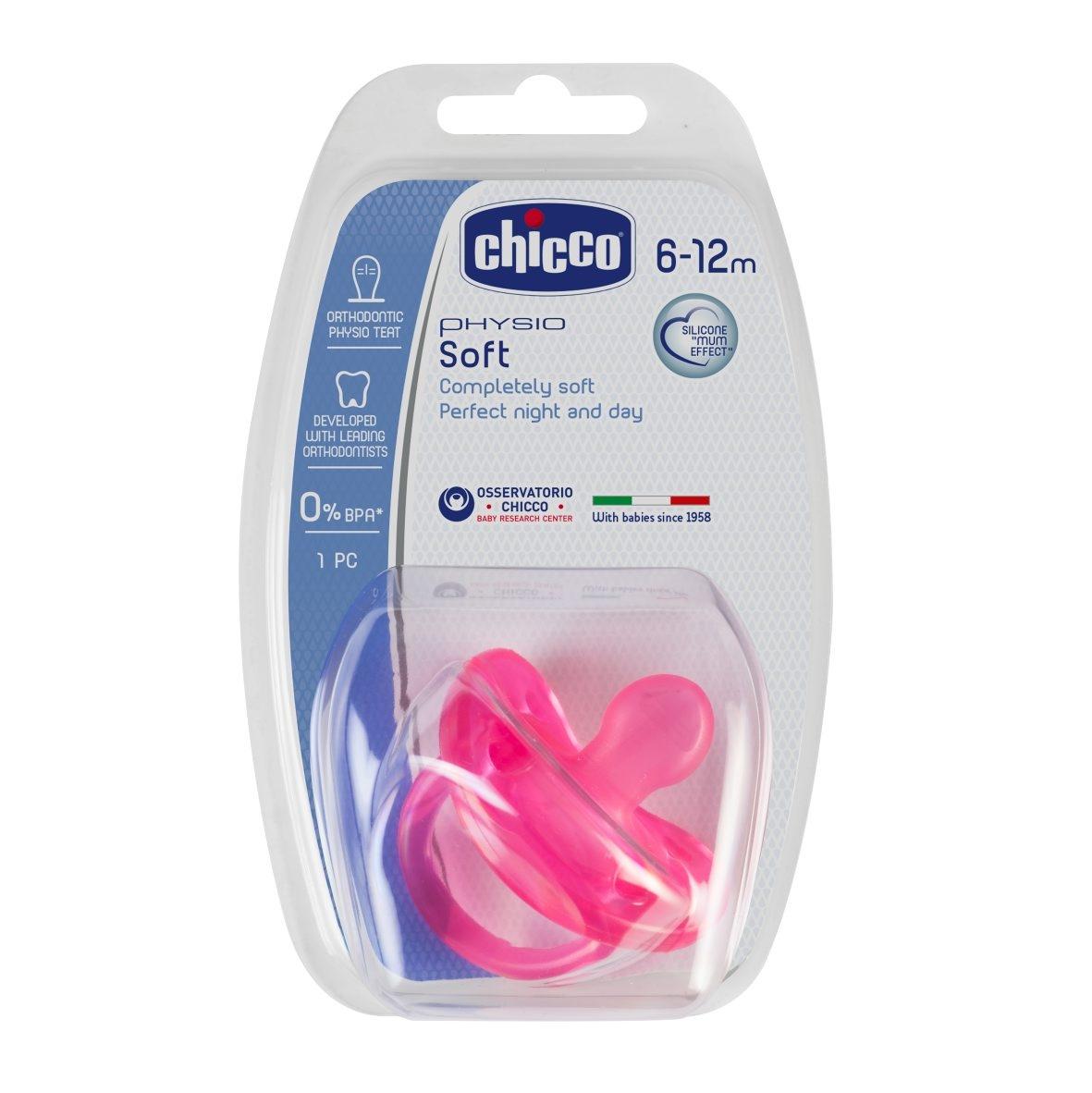 Chicco Šidítko Physio Soft celosilikónové 6-16m , růžové