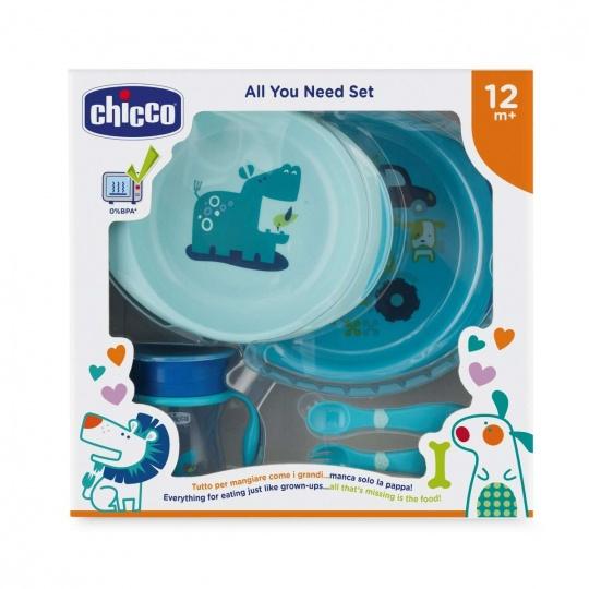 CHICCO Jídelní set - talíře, příbory, hrnek, 12m+ - modrý