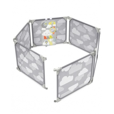 Skip Hop Ohrádka / zábrana s hracím panelem 2v1 rozšiřitelná grey 6m+