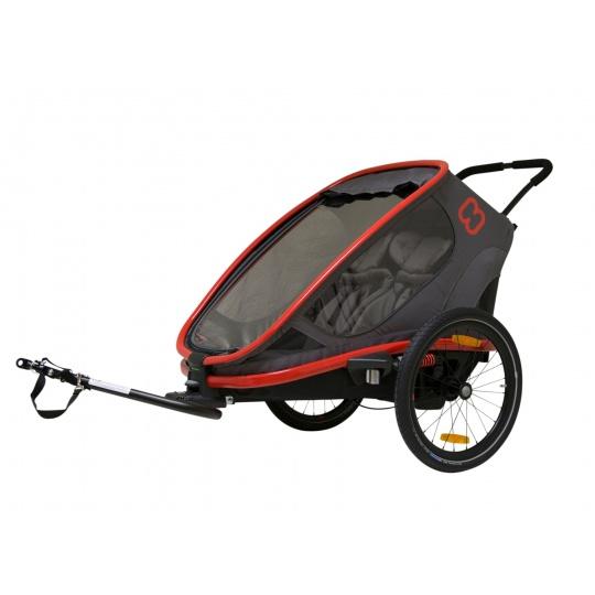 HAMAX Outback 2v1 - dvoumístný vozík za kolo vč. ramena + kočárkový set Grey/Red/Antracit polohovací