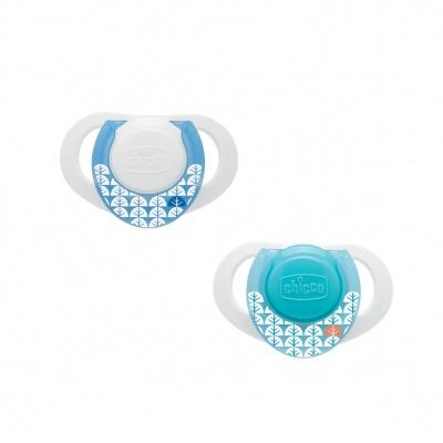 Chicco Šidítko Physio Compact, silikonové, 0-6m+, modré, 2 ks
