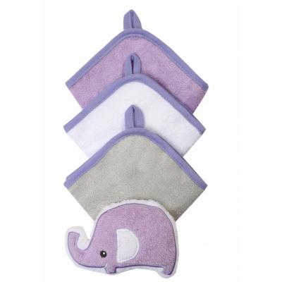 BabyOno Souprava 3 mycích utěrek s houbičkou - fialová