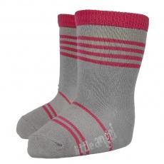 Little Angel-Ponožky STYL ANGEL - Outlast® - tm.šedá/malinová Velikost: 30-34 | 20-22 cm