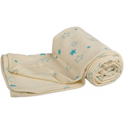 KAARSGAREN-Letní deka 70 x 100cm z biobavlny hvězdičky aqua