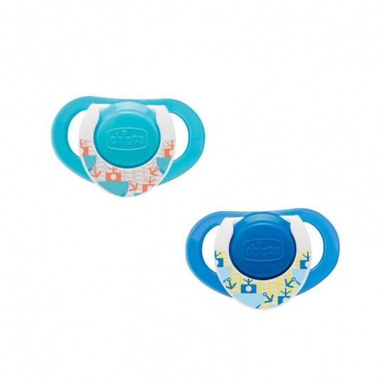 CHICCO Šidítko Physio Compact, silikonové, 16-36m, modré, 2 ks