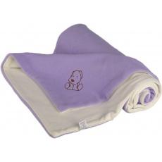 KAARSGAREN-Dětská deka fialovo smetanová s pejskem fleece bavlna
