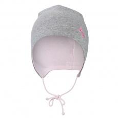 Little Angel-Čepice zavazovací podšitá Outlast ® - šedý melír/růžová baby Velikost: 3   42-44 cm