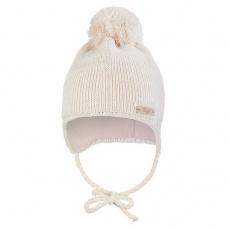 Little Angel-Čepice pletená zavazovací LA s bambulí Outlast ® - natur melír Velikost: 1 | 36-38 cm